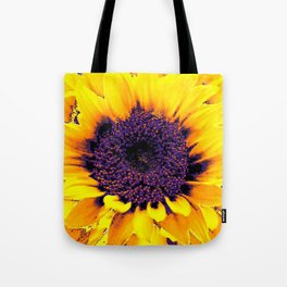 Purple Floral Center Of Butter Yellow Sunflower Tote Bag