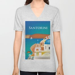 Santorini, Greece - Skyline Illustration by Loose Petals Unisex V-Neck