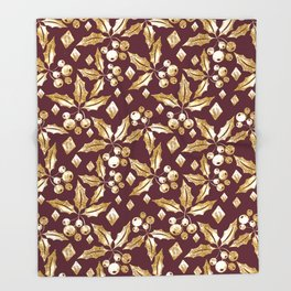 Christmas pattern.Gold sprigs on a dark Burgundy background. Throw Blanket