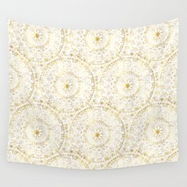 Gold Hand Drawn Mandala Wall Tapestry