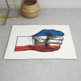 Raised Fist for France | French Flag Rug