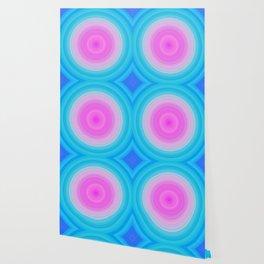Ombre Pink Teal Circles Wallpaper