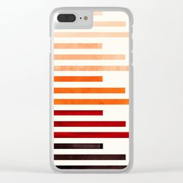 Brown Minimalist Abstract Mid Century Modern Staggered Thin Stripes Watercolor Painting Clear iPhone Case