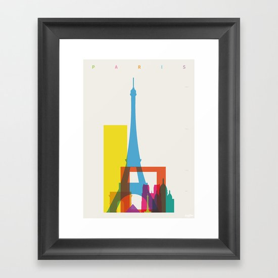 Shapes of Paris. Accurate to scale. Framed Art Print