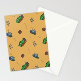 Happy Train Pattern with yellow background Stationery Cards