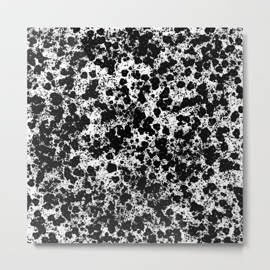 Peppered - Abstract, black and white paint splats Metal Print