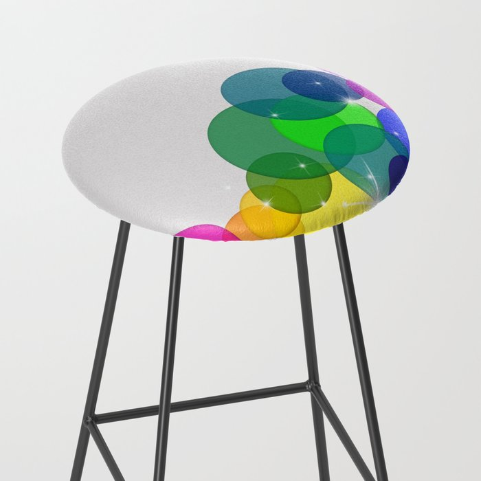 Translucent Rainbow Colored Circles with Sparkles - Multi Colored Bar Stool