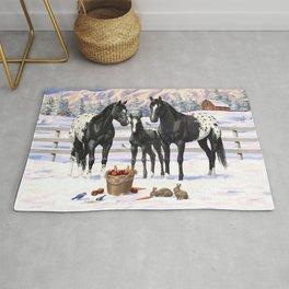 Black Appaloosa Horses In Winter Snow Rug