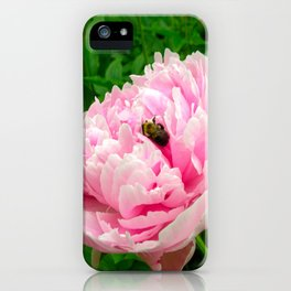 Bumble Bee on a Pink Peony iPhone Case