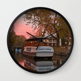 Autumn Twilight Canal Wall Clock