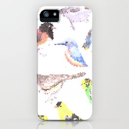 colorful birds stained glass art- budgie cardinal goldfinch titmouse kingfisher cedar waxwing juncos iPhone Case
