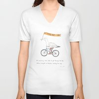 bicycles V-neck T-shirts featuring seagulls on bicycles by Marc Johns