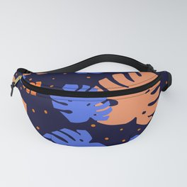 colored monstera abstract Fanny Pack