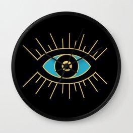 Black and Teal Evil Eye Wall Clock