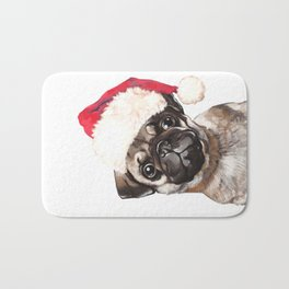 Christmas Pug Bath Mat