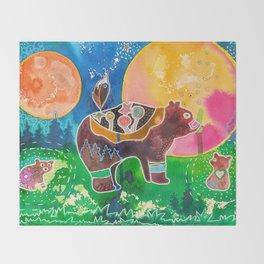 Family bear - animal - by LiliFlore Throw Blanket