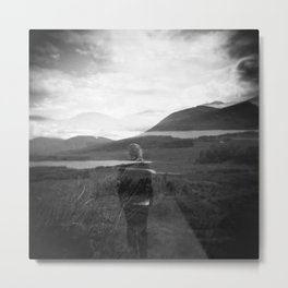 Ghostly Girl in the Scottish Highlands - Black and white photograph  Metal Print
