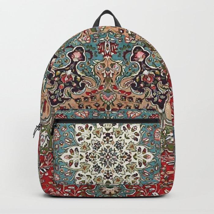 Antique Red Blue Black Persian Carpet Print Rucksack