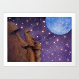 Moai & Moon in Universe Art Print
