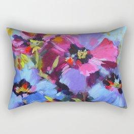 Wild Blue Poppy Garden Rectangular Pillow