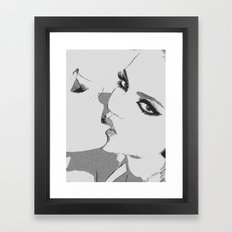 Dirty girls love to play some Naughty games - sexy lesbians kissing, biting lips, hot erotic artwork Framed Art Print