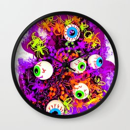 Eyeballs and Spiders Halloween Design Wall Clock