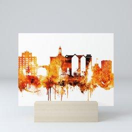 Seattle Washington Red Yellow Skyline Mini Art Print
