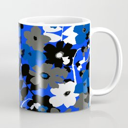 SUNFLOWER TRELLIS BLUE BLACK GRAY AND WHITE TOILE Coffee Mug