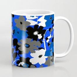 SUNFLOWER TRELLIS BLUE BLACK GRAY AND WHITE TOILE Coffee Mug