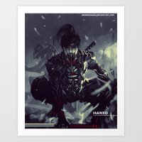 exo Art Prints featuring Darkfall Hanzo Exo Suit by Benedick Bana