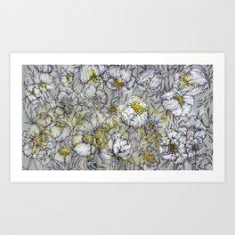 Grey Peony Art Print