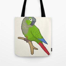 Pixel / 8-bit Parrot: Green-cheek Conure Tote Bag