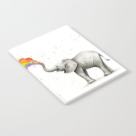 Baby Elephant Spraying Rainbow Whimsical Animals Notebook