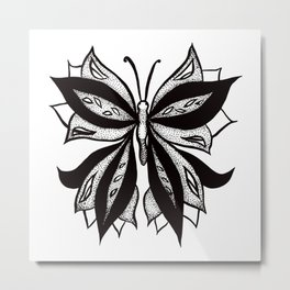 Abstract Butterfly Stipple Shaded Ink Drawing Metal Print