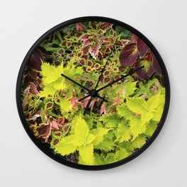 Foliage Fiesta With A Touch Of Begonia Wall Clock
