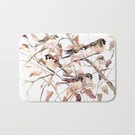 Birds on Fall Tree, Brown Sahara colors birds, sparrow, sparrow birds Bath Mat