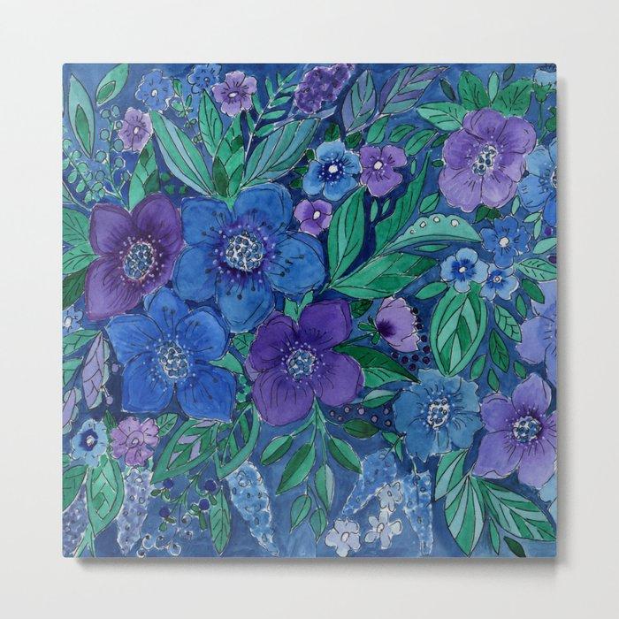 Watercolor . Blue flowers . Metal Print
