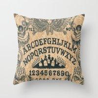 ouija Throw Pillows featuring Ouija Board by ezmaya