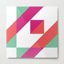 Hot Pink, Neon Grapefruit and Neon Turquoise Color Block Metal Print
