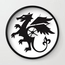dragon - black Wall Clock