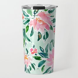 SWOOSH Pink Mint Floral Travel Mug
