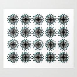 Black Aqua Starburst Mandala Pattern Tile Art Print