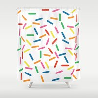 sprinkles Shower Curtains featuring Sprinkles by Gold Collective