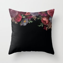 Vintage & Shabby Chic - Night Antique Redoute Roses Frame On Black Throw Pillow
