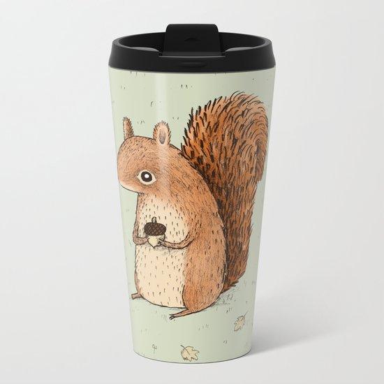 Sarah the Squirrel Metal Travel Mug