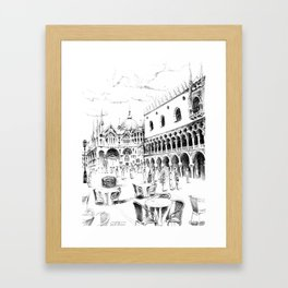 Sketch of San Marco Square in Venice Framed Art Print