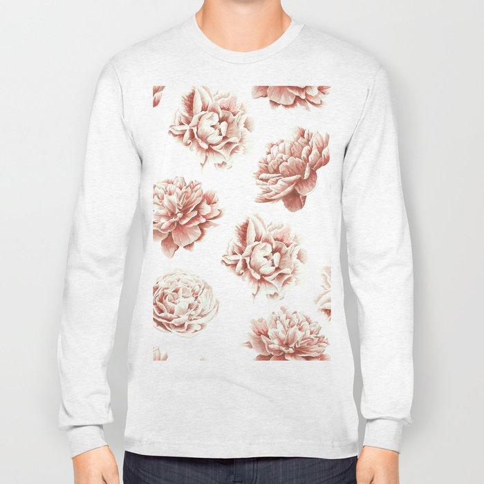 Rose Garden Vintage Rose Pink Cream and White Long Sleeve T-shirt