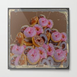 SHABBY CHIC ANTIQUE PHOTO PINK DONUTS Metal Print