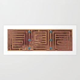 Plinth - Rust colored geometric decorative design Art Print