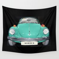 volkswagen Wall Tapestries featuring Wander Old Beetle. Vintage Volkswagen by Guido Montañés
